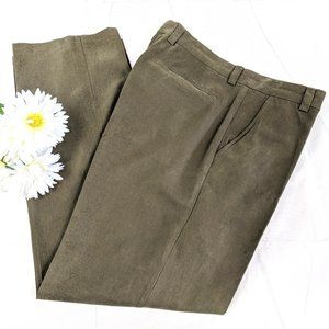 Tommy Bahama Olive Flat Front Silk Cotton Pants